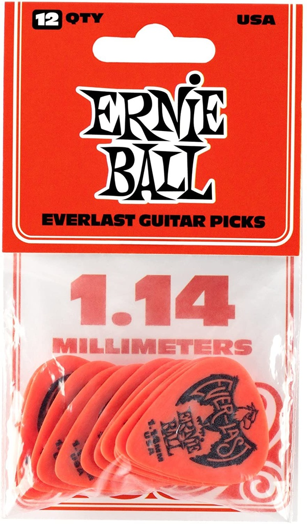 Plectres Ernie Ball Paquet de 12 Everlast 1.14mm