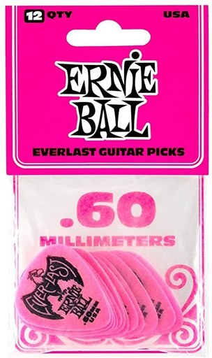 Plectres Ernie Ball Paquet de 12 Everlast 0.60mm