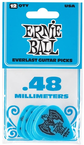 Plectres Ernie Ball Paquet de 12 Everlast 0.48mm