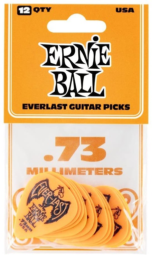 Plectres Ernie Ball Paquet de 12 Everlast 0.73mm