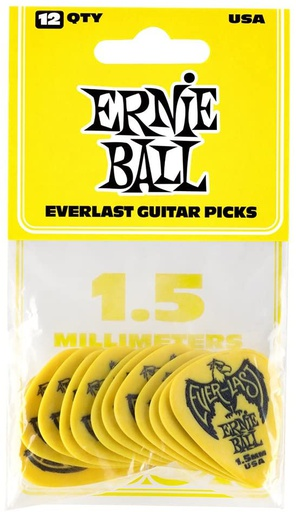 Plectres Ernie Ball Paquet de 12 Everlast 1.5mm