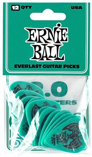 Plectres Ernie Ball Paquet de 12 Everlast 2.0mm