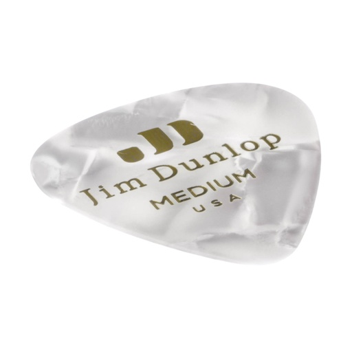 Plectre Dunlop USA Celluloïd White Pearloid Moyen