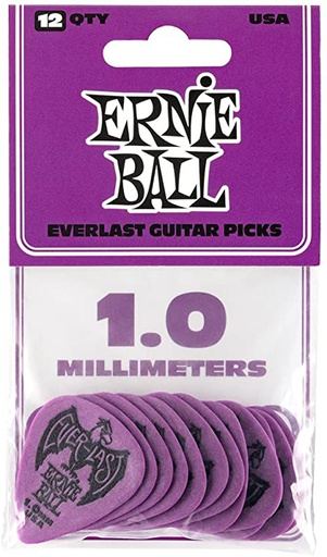Plectres Ernie Ball Paquet de 12 Everlast 1.0mm