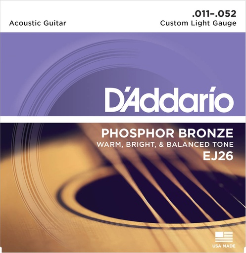 Cordes Guitare Acoustique D'Addario Phosphor Bronze 11-52